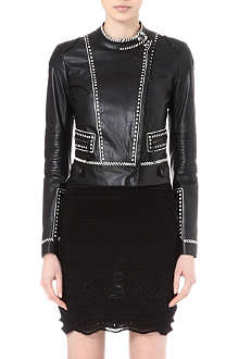 ROBERTO CAVALLI Contrast-detail leather jacket