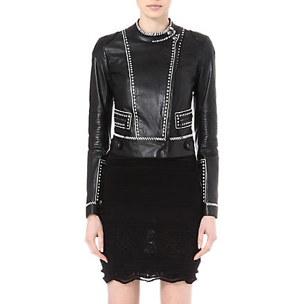 ROBERTO CAVALLI Contrast-detail leather jacket (Black