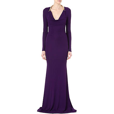 ROBERTO CAVALLI Rope-detailed gown (Purple