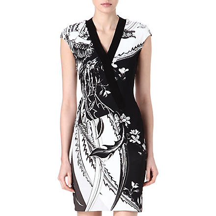 ROBERTO CAVALLI Printed stretch-jersey dress (Black/white