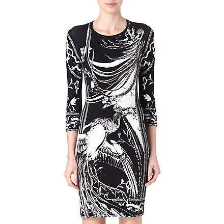 ROBERTO CAVALLI Kimono-print jersey dress (Black/white
