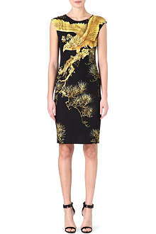 ROBERTO CAVALLI Oriental print cap-sleeved dress