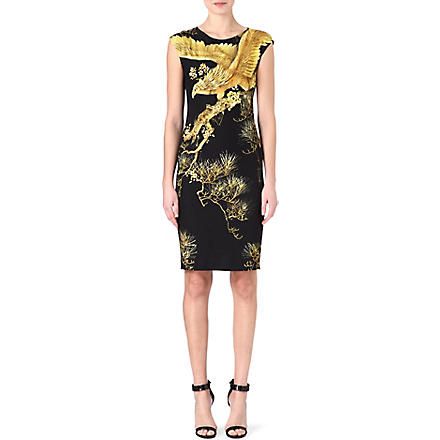 ROBERTO CAVALLI Oriental print cap-sleeved dress (Black/gold