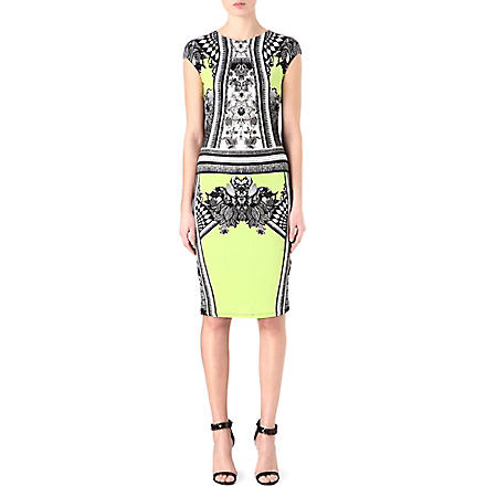 ROBERTO CAVALLI Printed stretch-jersey dress (Lime