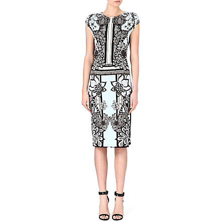 ROBERTO CAVALLI Printed jersey dress (Blue