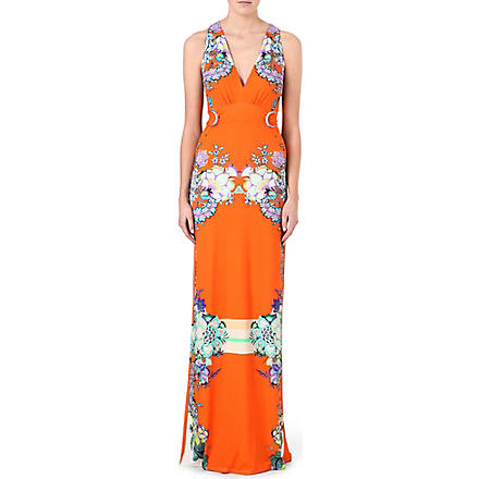 ROBERTO CAVALLI Printed stretch-jersey maxi dress (Orange