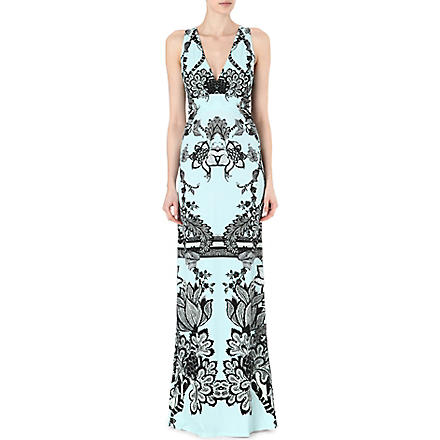 ROBERTO CAVALLI Printed stretch-jersey maxi dress (Blue