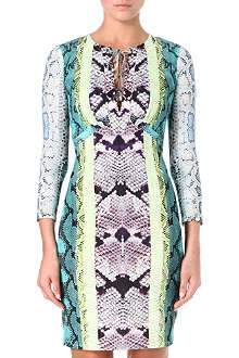 ROBERTO CAVALLI Python tie-detail dress