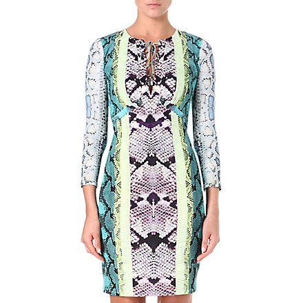 ROBERTO CAVALLI Python tie-detail dress (Turq