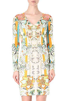 ROBERTO CAVALLI Floral printed crepe dress