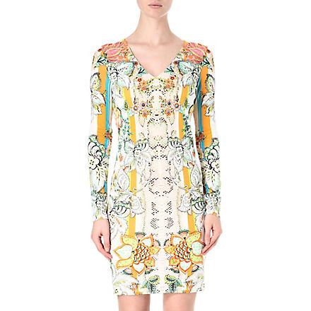 ROBERTO CAVALLI Floral printed crepe dress (Orange