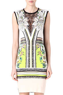 ROBERTO CAVALLI Lace-insert printed dress