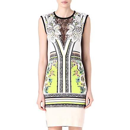 ROBERTO CAVALLI Lace-insert printed dress (Lime