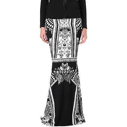 ROBERTO CAVALLI Printed maxi skirt (Black/white