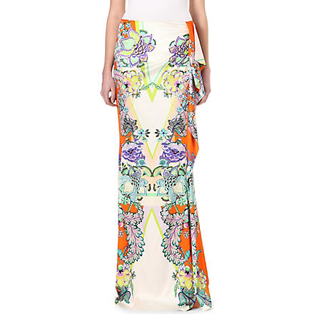 ROBERTO CAVALLI Floral silk maxi skirt (Orange