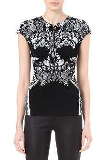 ROBERTO CAVALLI Printed lace-up top