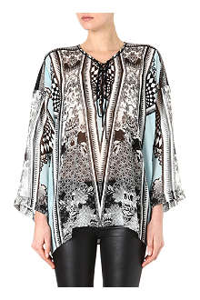ROBERTO CAVALLI Lace-up silk kaftan