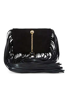 ROBERTO CAVALLI Fringed suede clutch bag