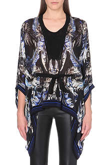 ROBERTO CAVALLI Feather-print silk kaftan top