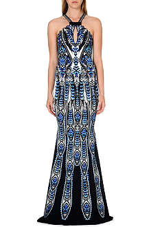 ROBERTO CAVALLI Feather print halter-neck gown