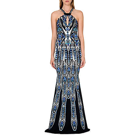 ROBERTO CAVALLI Feather print halter-neck gown (Blue