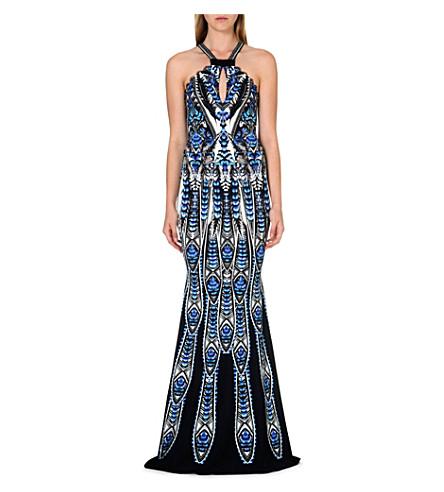 ROBERTO CAVALLI Feather print halter-neck gown (Blue