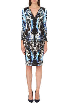 ROBERTO CAVALLI Lace-trimmed printed dress
