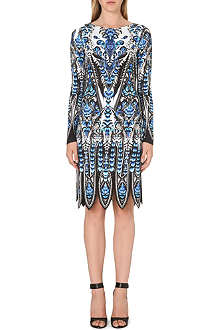 ROBERTO CAVALLI Feather print long-sleeved dress