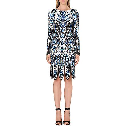 ROBERTO CAVALLI Feather print long-sleeved dress (Blue