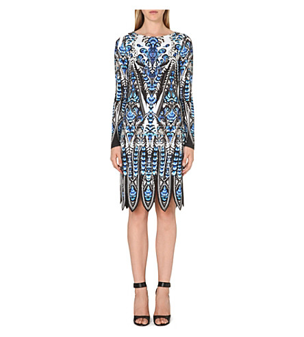 ROBERTO CAVALLI Feather print long-sleeved dress (Blue