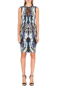 ROBERTO CAVALLI Lace-front printed dress