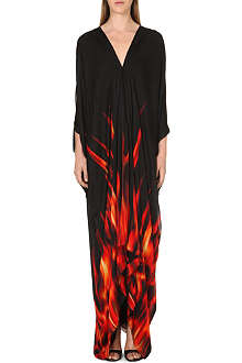 ROBERTO CAVALLI Fire print silk maxi dress