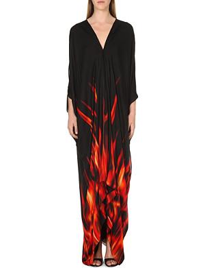 ROBERTO CAVALLI Fire print silk maxi dress