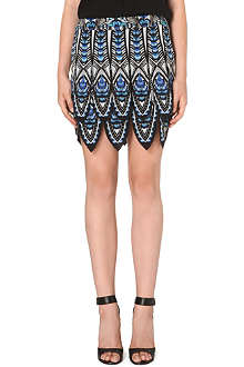 ROBERTO CAVALLI Mini flapper feather print skirt