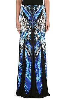 ROBERTO CAVALLI Feather print maxi skirt