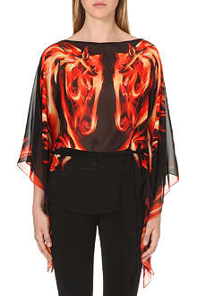 ROBERTO CAVALLI Printed semi-sheer top