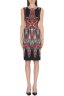 ROBERTO CAVALLI Feather-print stretch-crepe dress