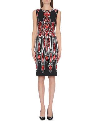 ROBERTO CAVALLI Feather-print stretch-crepe dress