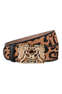 ROBERTO CAVALLI Leopard-print leather belt