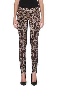 ROBERTO CAVALLI Leopard-print skinny mid-rise jeans