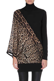 ROBERTO CAVALLI Leopard-print silk and wool turtleneck jumper
