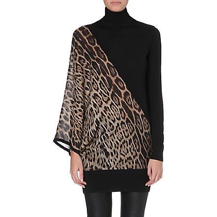 ROBERTO CAVALLI Leopard-print silk and wool turtleneck jumper (Brown
