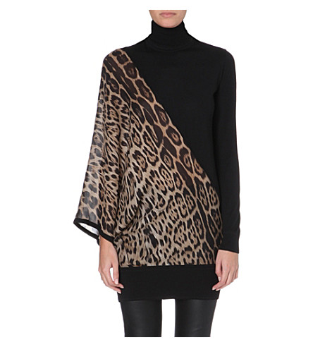 ROBERTO CAVALLI Leopard-print silk and wool turtleneck jumper (Brown