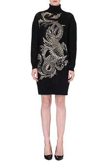 ROBERTO CAVALLI Dragon-print turtleneck dress