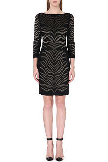 ROBERTO CAVALLI Tiger-print embroidered dress