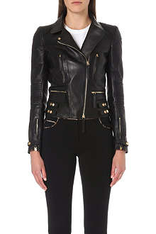 ROBERTO CAVALLI Quilted panel leather biker jacket