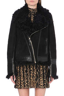 ROBERTO CAVALLI Shearling-lined suede jacket