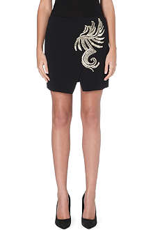 ROBERTO CAVALLI Wrap-style embroidered skirt