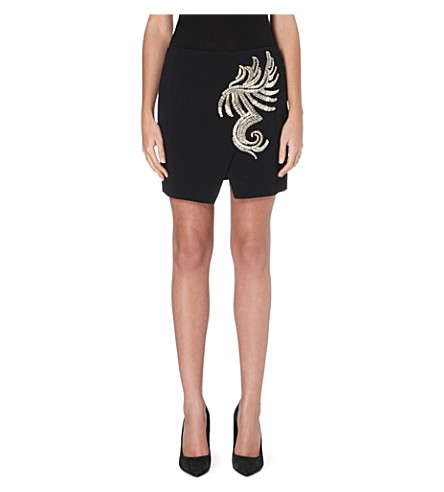 ROBERTO CAVALLI Wrap-style embroidered skirt (Black