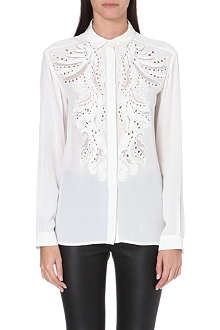 ROBERTO CAVALLI Embroidered cut-out silk shirt